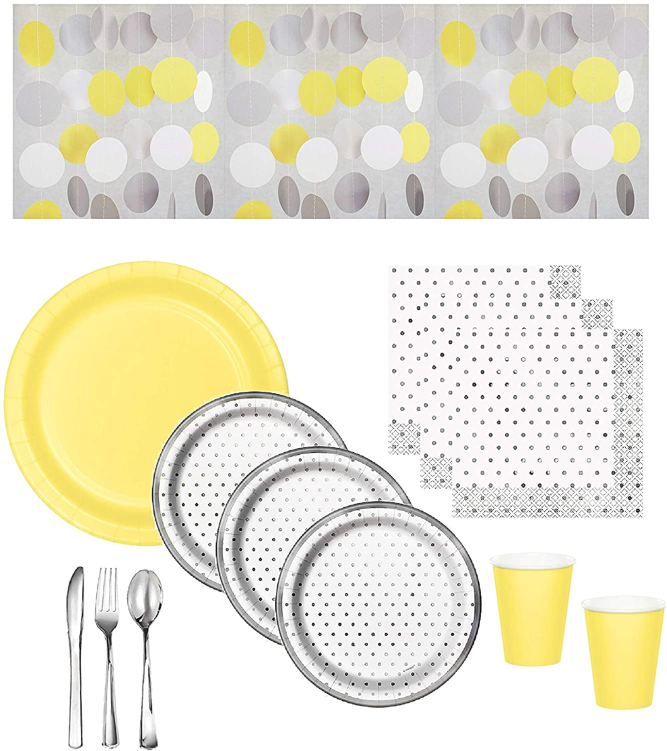 Gender Neutral Baby Shower Supplies - Gray Dot Plates & Napkins With Yellow Plates & Cups, Coordinating Hanging String Decorations & Shiny Silver Premium Quality Plasticware - Serves 16 Guests