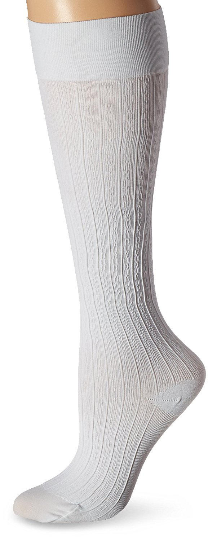 JOBST soSoft, Knee High Compression Socks, Brocade, 8-15 mmHg, White, MD