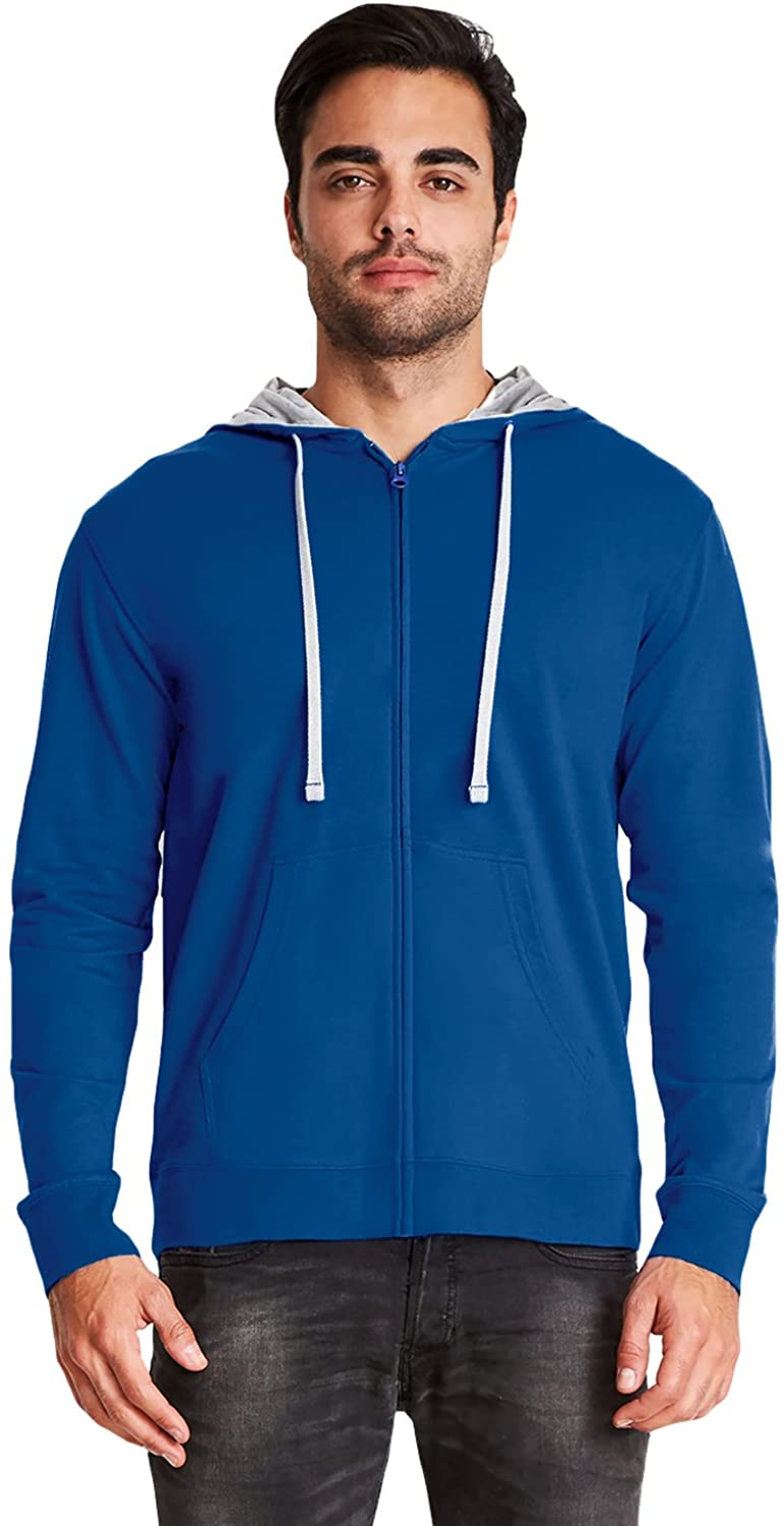 Next Level Adult French Terry Zip Hoody (9601) -ROYAL/HTHR -2XL