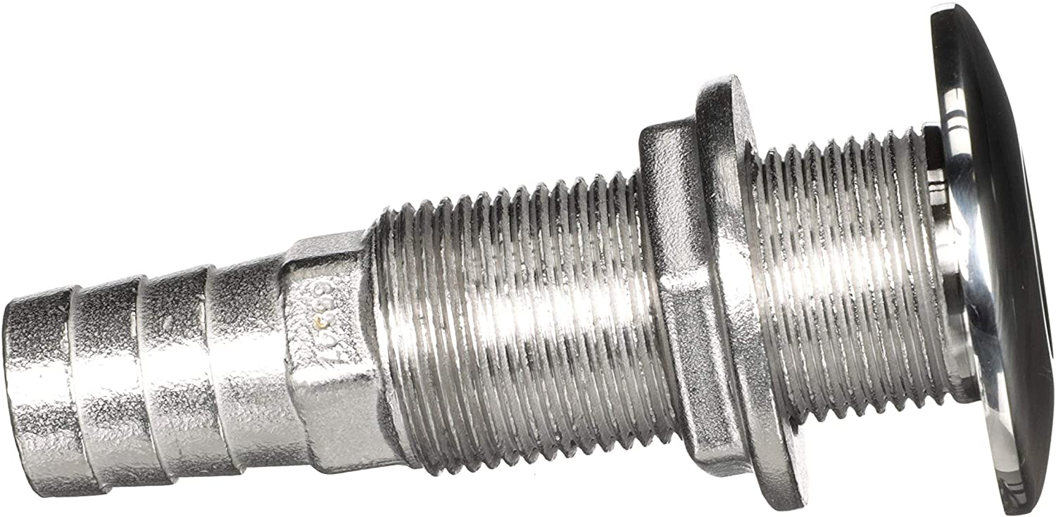 attwood 66547-3 Stainless Steel Straight Thru-Hull Valve Fitting, Barbed, Standard Length, for 3/4-Inch Interior Diameter Hose