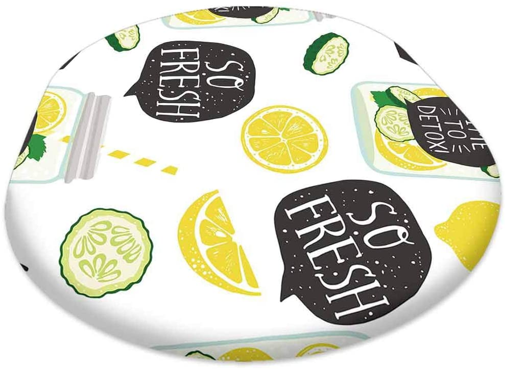 oobon Oval Picnic Folding Table Cover, Hand Drawn Pattern with Lemon Lemon Slice jar with Detox Water, for Spring/Summer/Party/Picnic, 60x120 inch