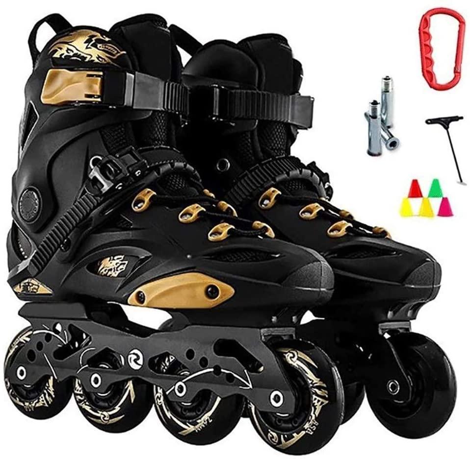 QL Inline Skates Black Golden Professional Slalom Inline Skates Roller Free Skating Shoes Sliding Patines (Color : A, Size : 42 EU/9 US/8 UK/26cm JP)