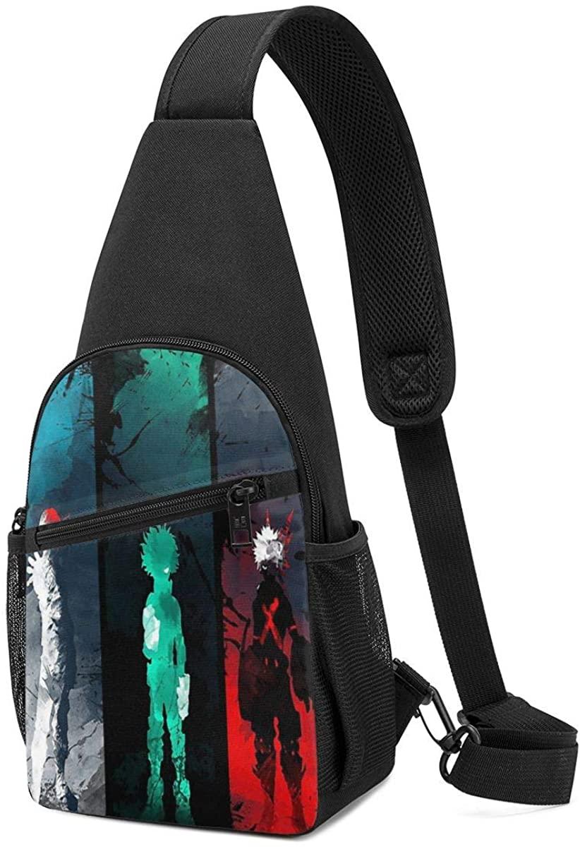 Mens Sling Bag Leather Chest Bag Shoulder Backpack Cross Body Travel,(My Hero Academia)