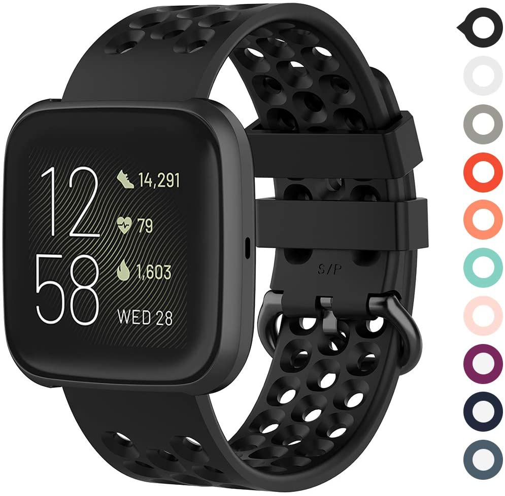 Meifox Bands Compatible with Fitbit Versa/Fitbit Versa 2 / Fitbit Versa Lite Edition,Solf Silicone Breathable Band (Black, Small)