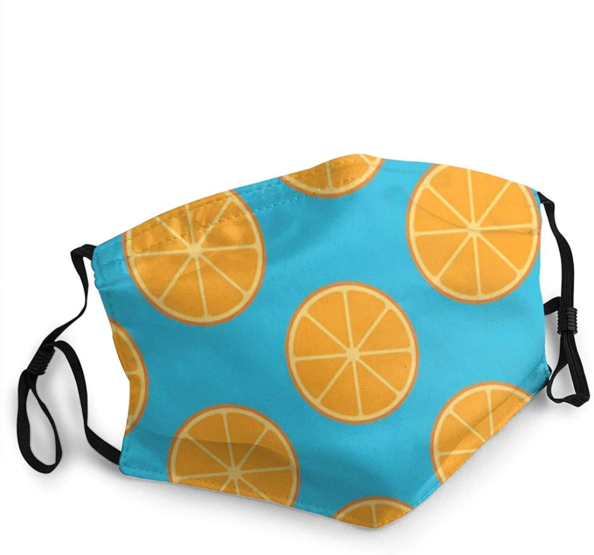 Face Mask, Comfortable Non-Elastic Ear Loops,Sliced Orange Fruit On Blue Washable and Reusable, Unisex Mouth Mas