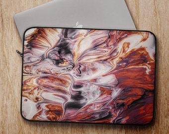 Padded Marble Laptop Sleeve Cover for for MacBook Pro, for MacBook Air, 13 15, Inch PC Laptops - Polyester Laptop Bag for Back to School