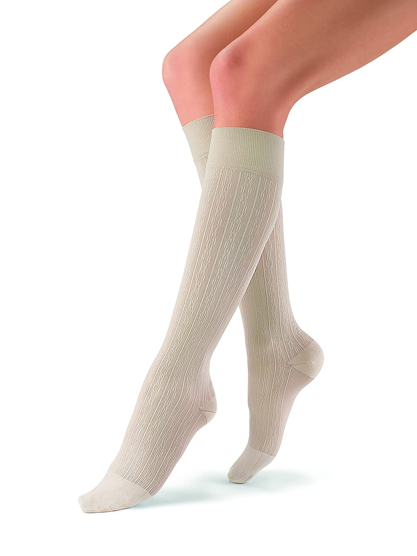 JOBST soSoft, Knee High Compression Socks, Brocade, 8-15 mmHg, Sand, MD