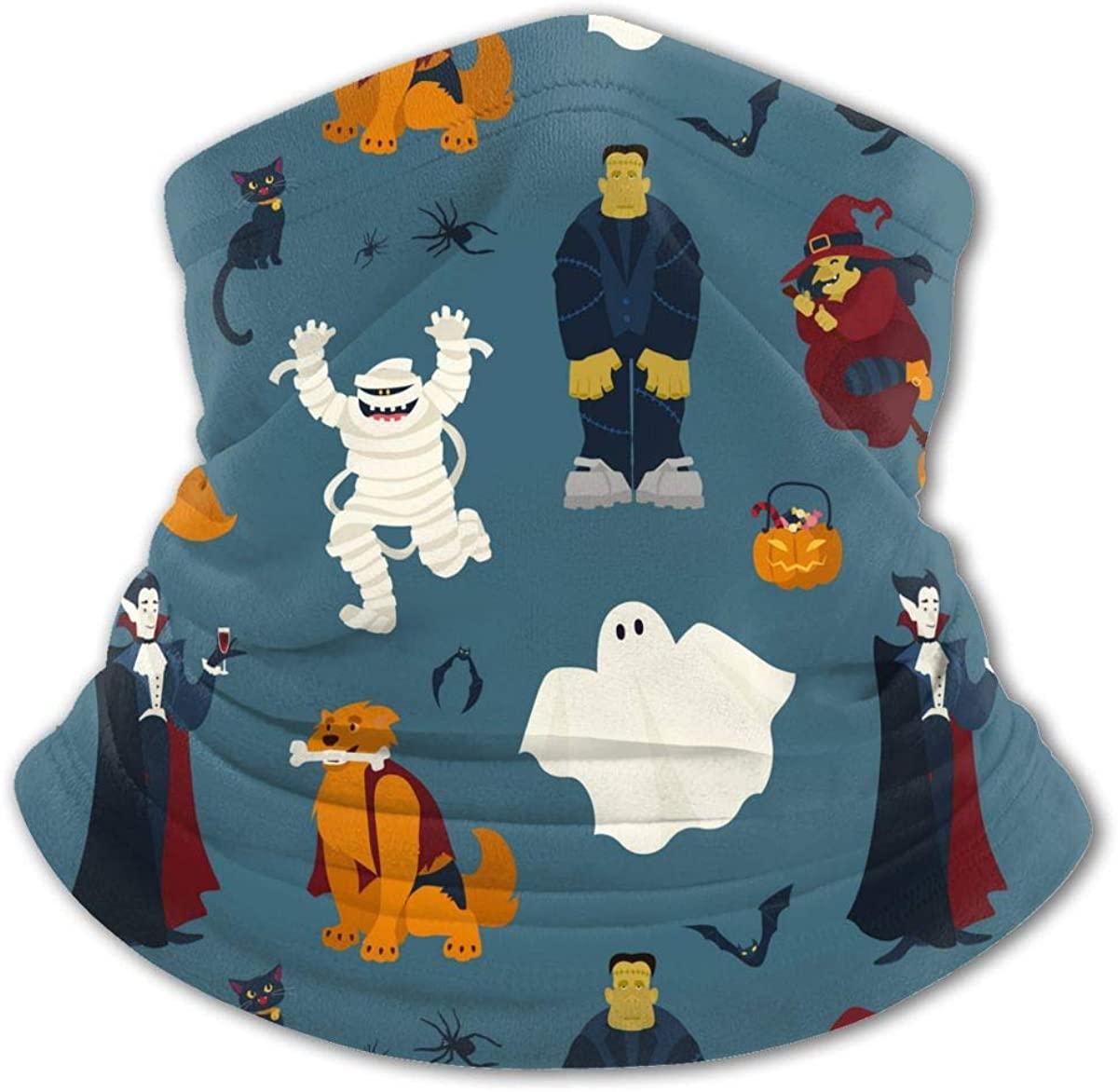 Halloween with Funny Scary Magic Neck Gaiter Face Mask Bandana Dust Wind Sun UV Balaclava for Teen Boy Girl Outdoors