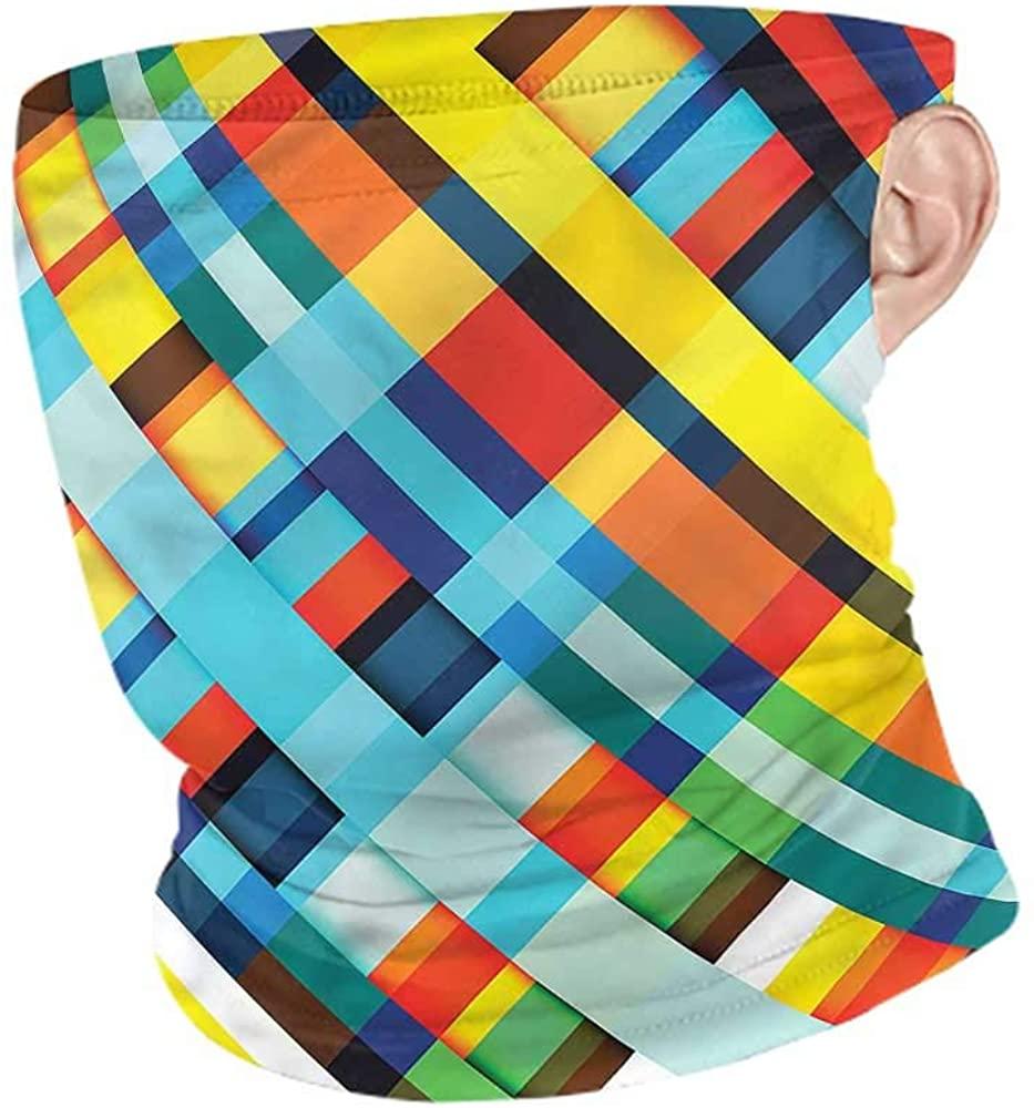VIVIOTendance Face Cover Colorful,Vivid Retro Lines Motorcycle Face Bandana