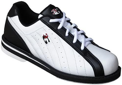 3G Kicks White/Black Unisex Bowling Shoes, Size 7