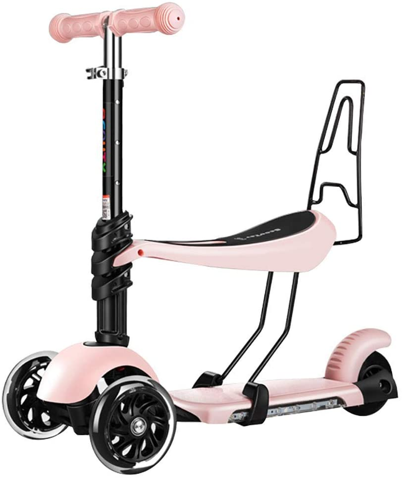 PLLP Outdoor Sports Scooter Kick,Adjustable Music Kick with Seat Handlebar, Pu Flashing Wheel, 2-6Yr Kids with Removable Backrest, No Electric Adult Child Toy Balance Car Mini,Pink
