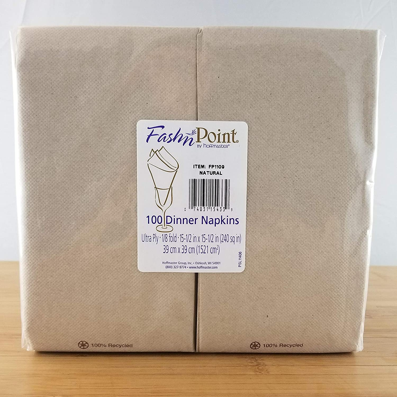Hoffmaster FP1109 FashnPoint Natural Dinner Napkins, 100% Recycled, 1/8 Fold, 8