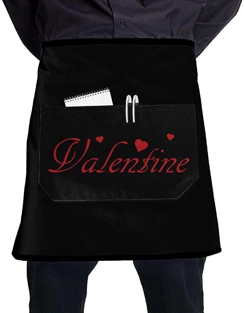 Valentine Short Bistro Half Aprons for Men Women, 17x21 inches