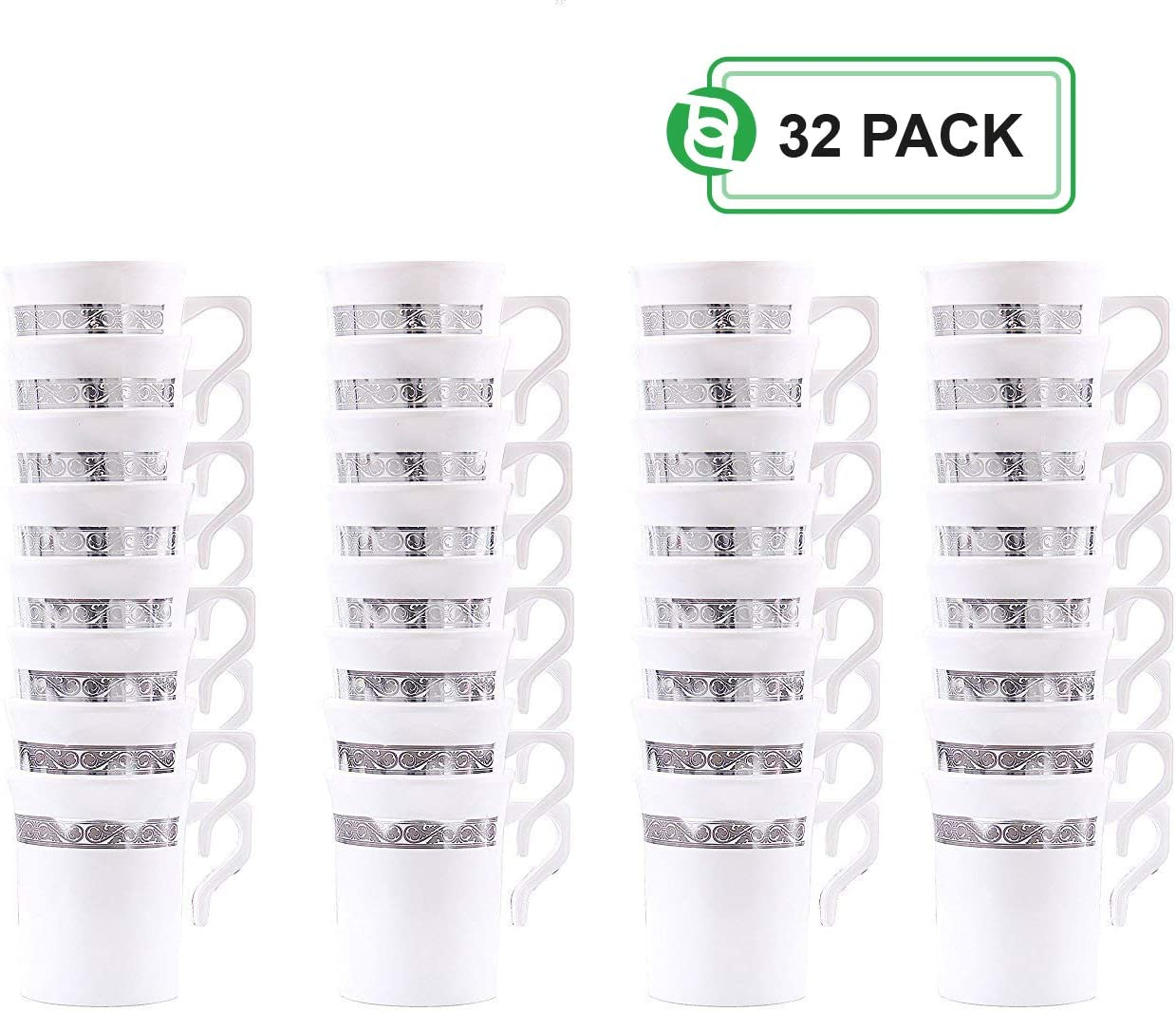 Plastic Coffee Cups   8 Ounce Disposable Tea Cups Mugs w/Handle   Elegant Insulated Coffee Mugs With Silver Rim Excellent for Weddings, Bridal Showers, Engagement Parties, Camping & More   32 Count