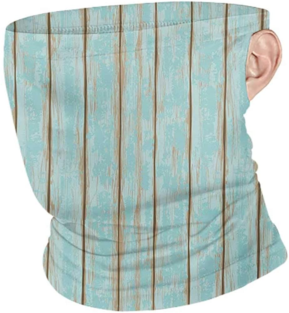 Neck Warmer Cooling Wood Print Old Fashioned Weathered Rustic Planks Summer Cottage Beach Coastal Theme,12 in 1 Multifunctional Headwear Pale Blue Tan 10 x 12 Inch