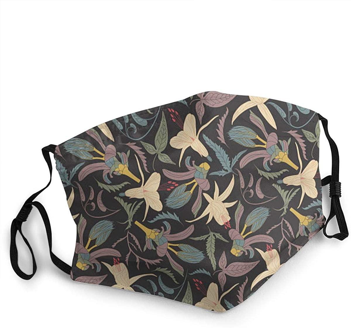 Fashion Protective Face Masks, Flowers and Leaves Unisex Dust Mouth Masks, Washable, Reusable Masks