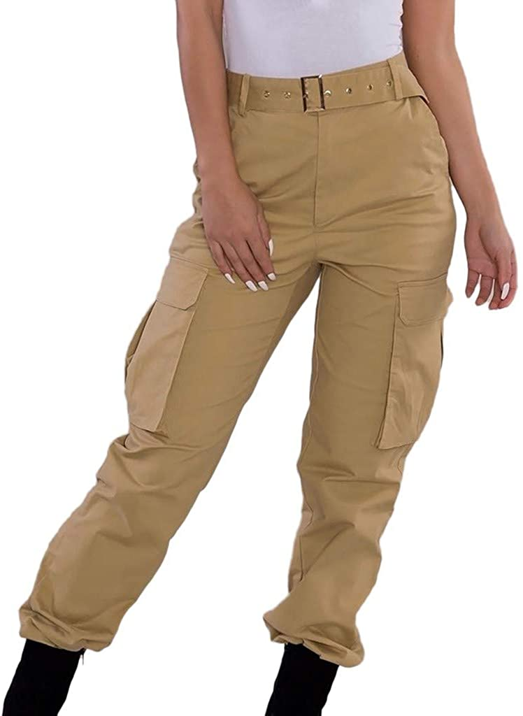 Womens Cargo Trousers Casual Stylish Military Combat Solid Pants Pocket Trousers
