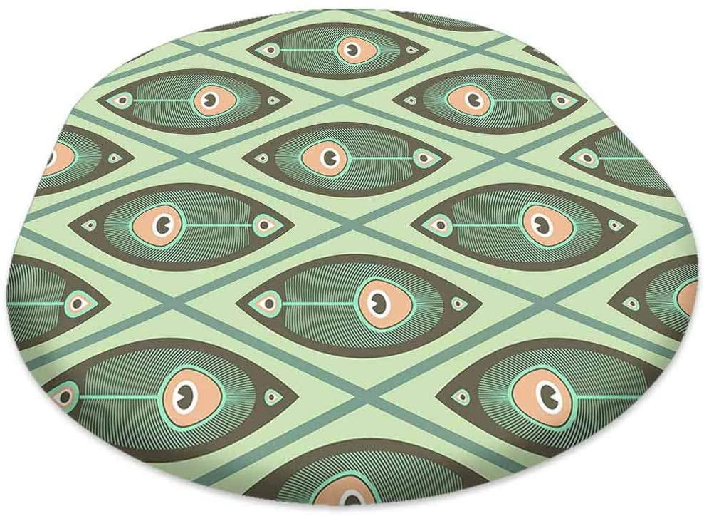 Oval Picnic Folding Table Cover, Geometrical Pattern with Peacocks Feathers in Pastel Color, for Spring/Summer/Party/Picnic, 60x120 inch