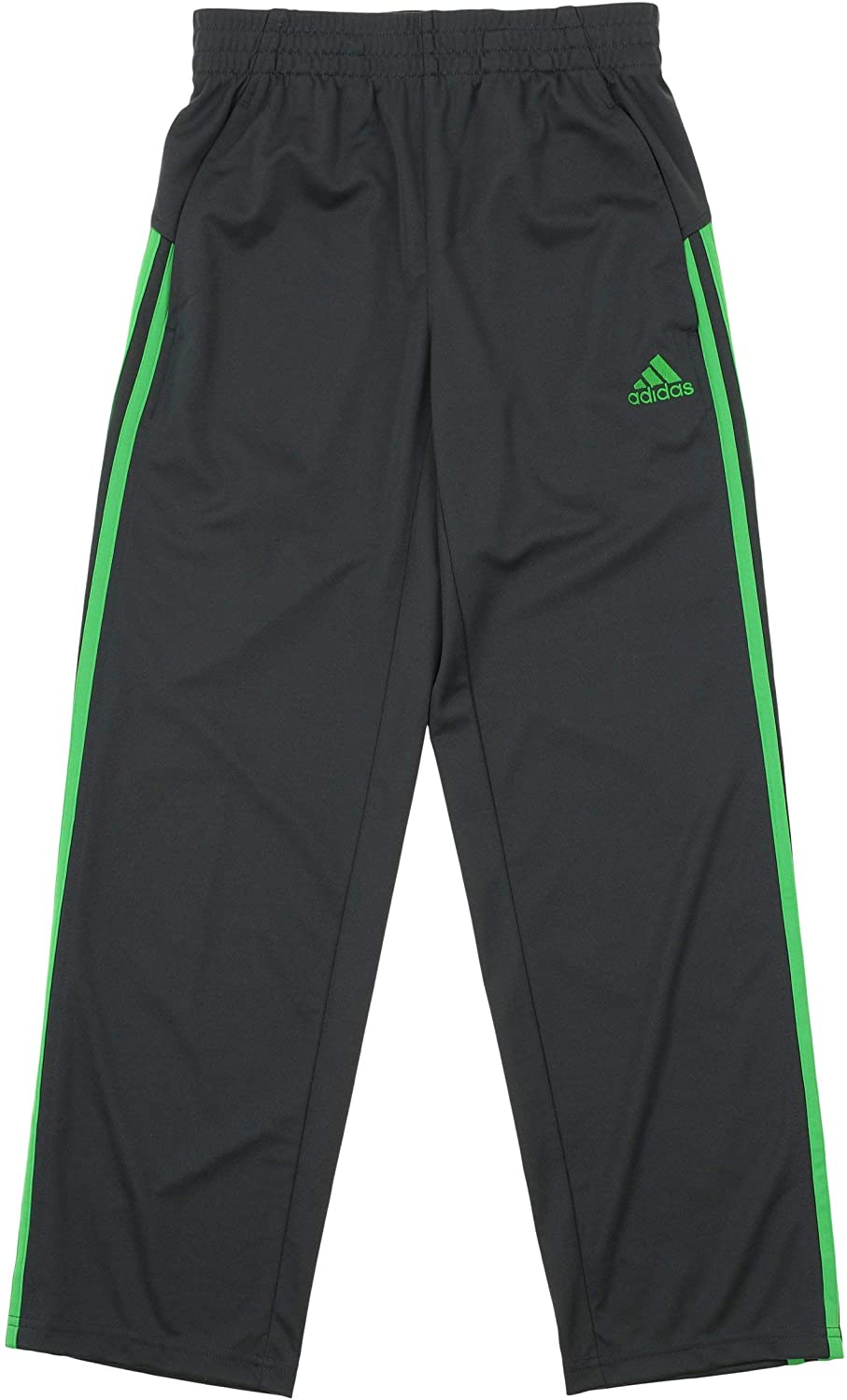 adidas Boy's Athletic Loose Core Pants,Grey/Lime Large (14/16)