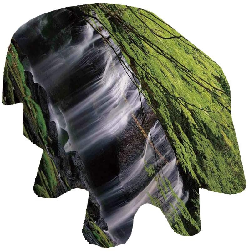 Angel Bags Waterfall Decor Oval Tablecloth,Multiple Waterfalls Surrounded by Black Rocks and Green Trees Polyester Table Cover,60x84 Inch,for Spring/Summer/Party/Picnic Black White and Green