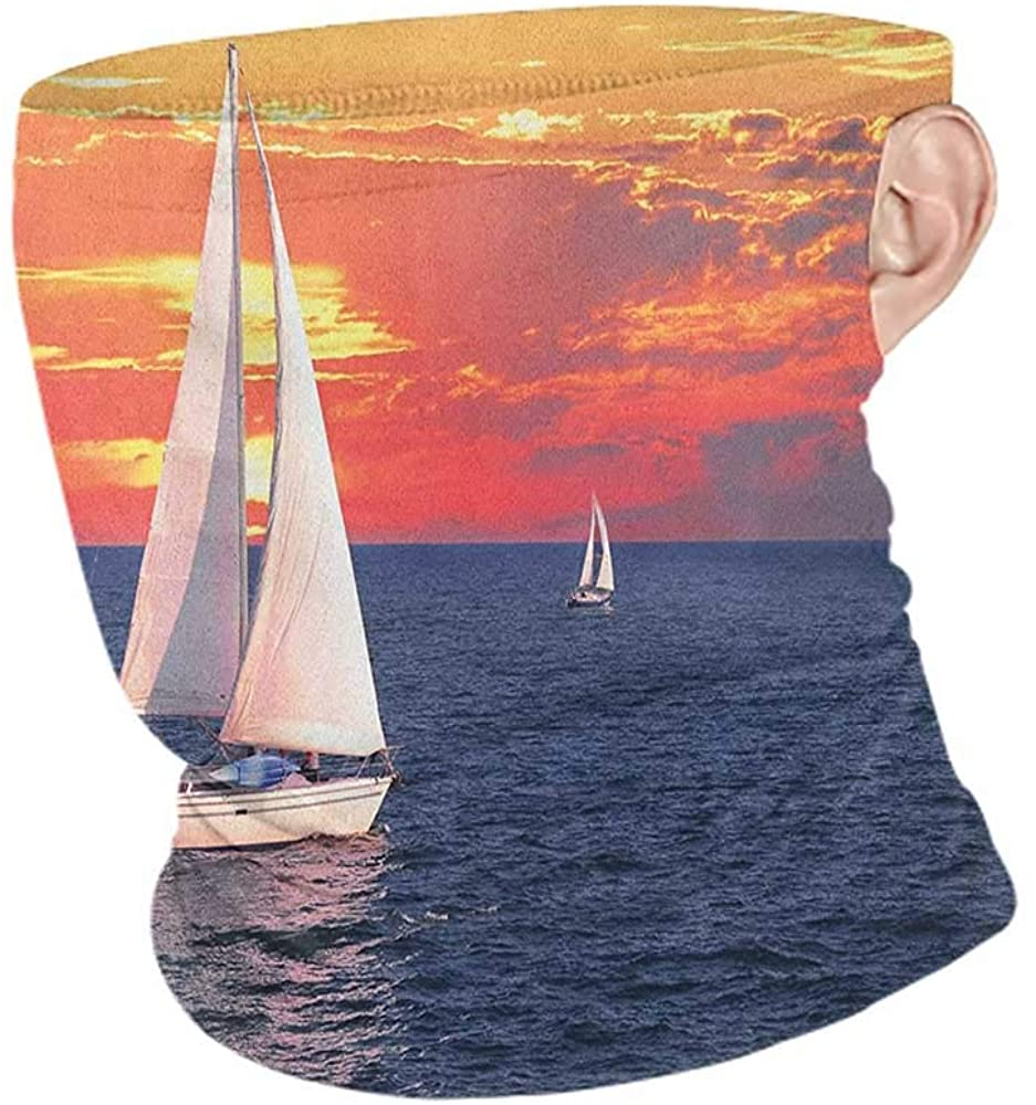 Headband Cooling Sailboat Sailboat Sailing on a Calm Evening Setting Sun Colored Sky Scenery,for Motorcycle Cycling Riding Running Headbands Dark Blue Orange White 10 x 12 Inch