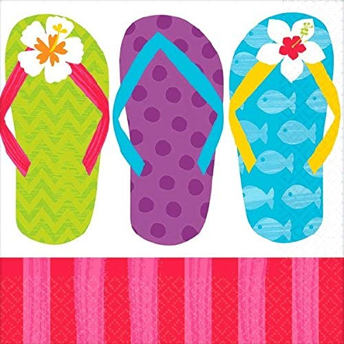 Amscan 701616 Sun-Sational Summer Luau Party Colorful Flip Flops Beverage Napkins Tableware, Paper (12 Pack), 5