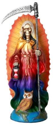 Pacific Giftware Santa Muerte Saint of Holy Death Standing Religious Statue 7.25 Inch Rainbow Tunic Seven Powers Santisima Muerte Sculpture