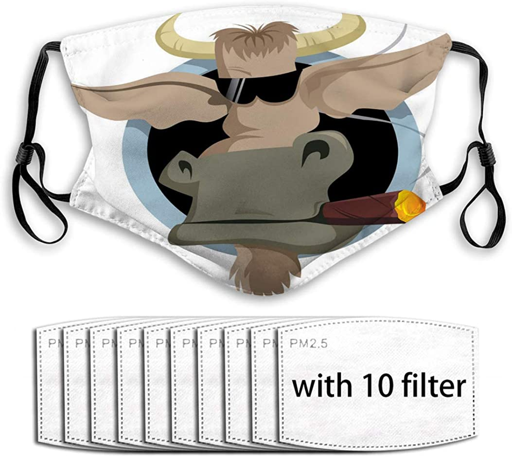 Xunulyn Anti Dust Mouth Muffle Cover Bull and Cigar Printed Cover