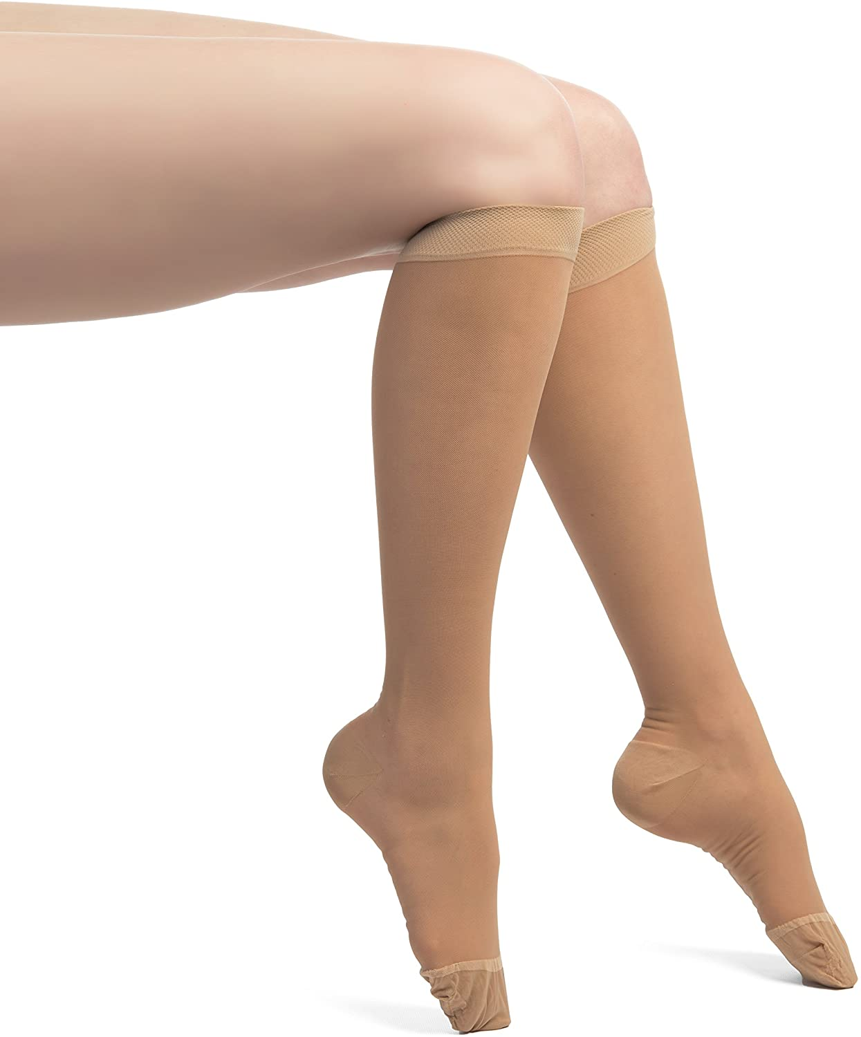 EvoNation Women's USA Made Sheer Graduated Compression Socks 8-15 mmHg Mild Pressure Medical Quality Knee High Support Stockings Hose - Circulation Travel (Large, Tan Nude Beige)