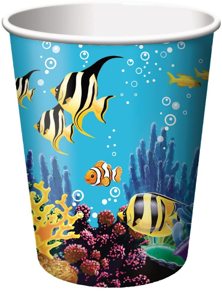 Creative Converting Ocean Party 8 Count Paper Cups, 9-Ounce - 375325