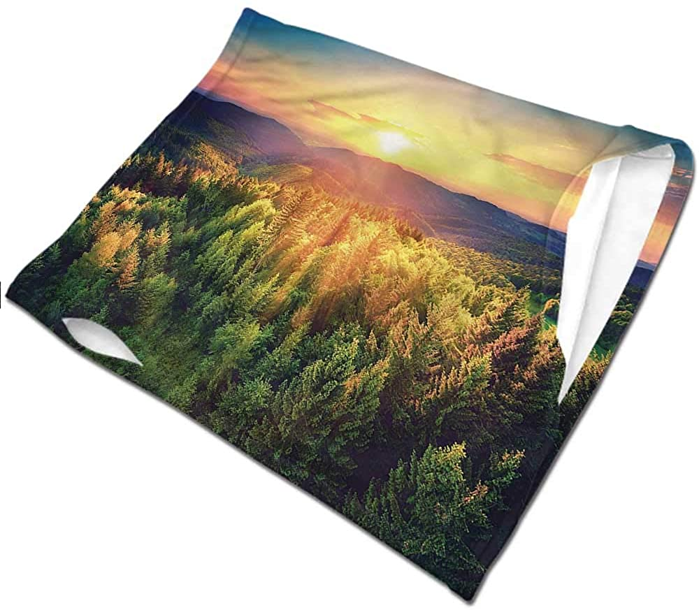 Headwrap Landscape,Sunset Forest and Hills Breathable face Covers