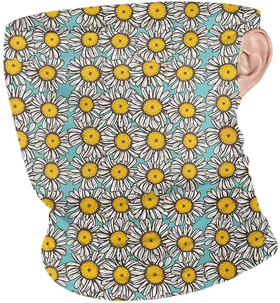 Neck Gaiters Summer Yellow and White Sketch Style Daisy Bouquet on Abstract Romantic Illustration,Winter Neck Gaiter Pale Blue Marigold White 10 x 12 Inch