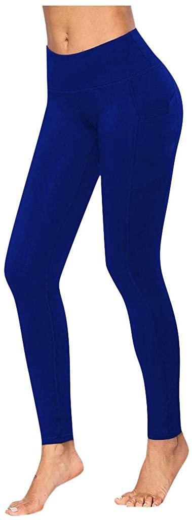 ZEFOTIM High Waist Yoga Pants, Pocket Yoga Pants Tummy Control Workout Running 4 Way Stretch Yoga Leggings