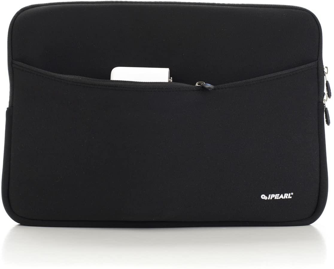 iPearl 13-inch Soft Neoprene Sleeve Case for MacBook & UltraBook laptop (built-in external pocket) - BLACK