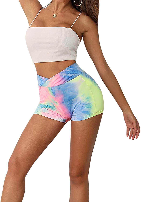 SweatyRocks Women's Stretch High Waist Workout Gym Short Leggings Tie Dye Biker Shorts