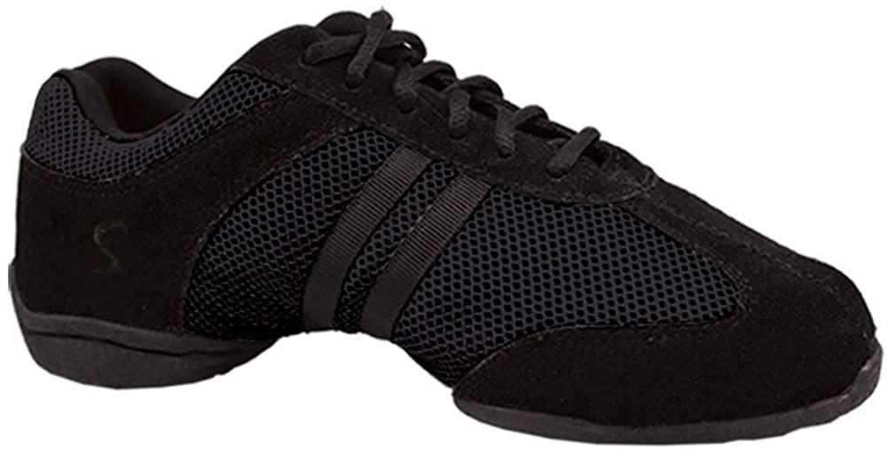 Skazz by Sansha Women's Dance Studio Exercise Sneakers Suede Leather Split-Sole Dyna-mesh (US 13.5 / Skazz 14 M)
