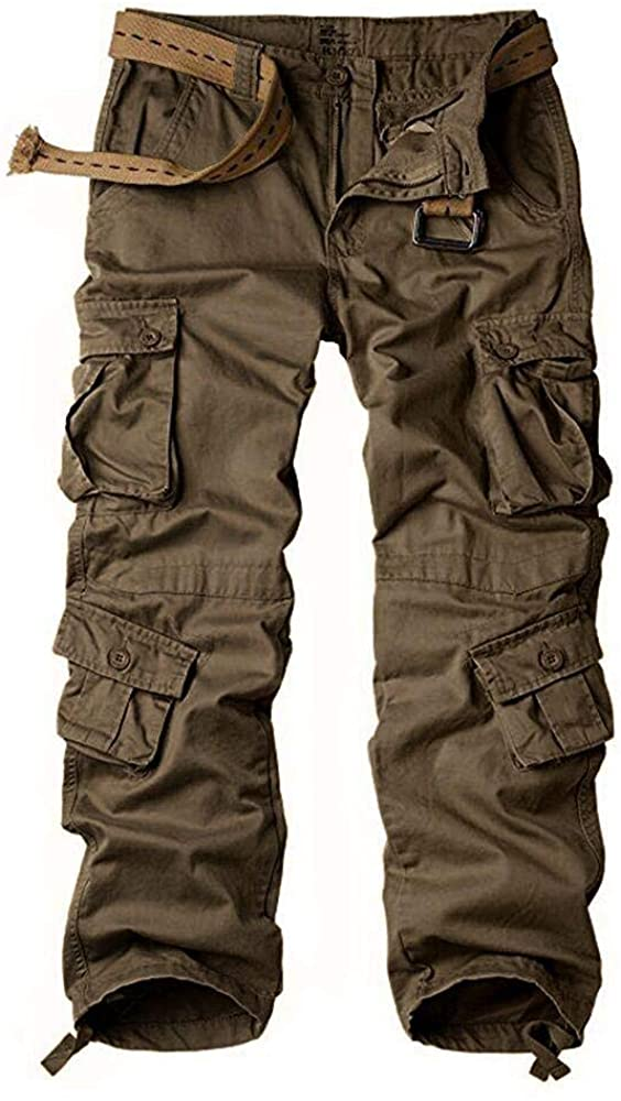Women's Tactical Pants, Cotton Casual Cargo Work Pants Military Army Combat Trousers 8 Pockets,Brown,36(US 16)