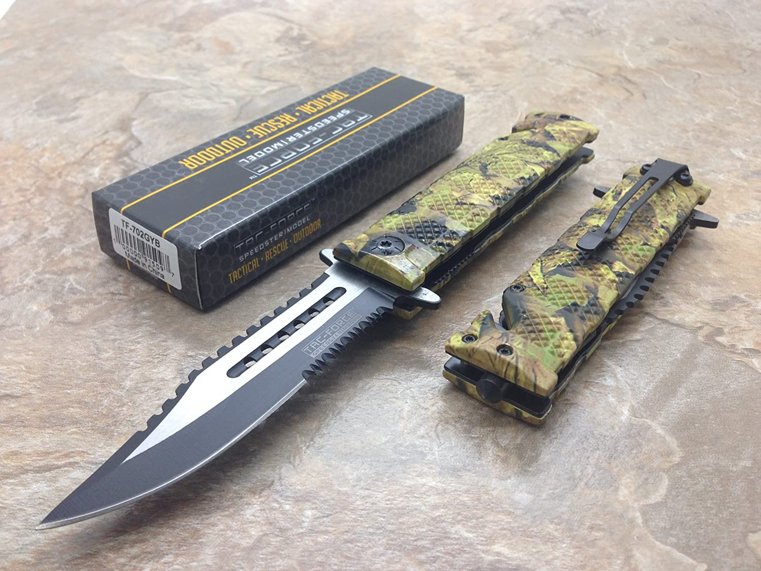 TAC Force Assisted Opening Rescue Tactical Pocket Folding Sawbaw Bowie Knife Outdoor Survival Camping Hunting w/Glass Breaker - Jungle Camo