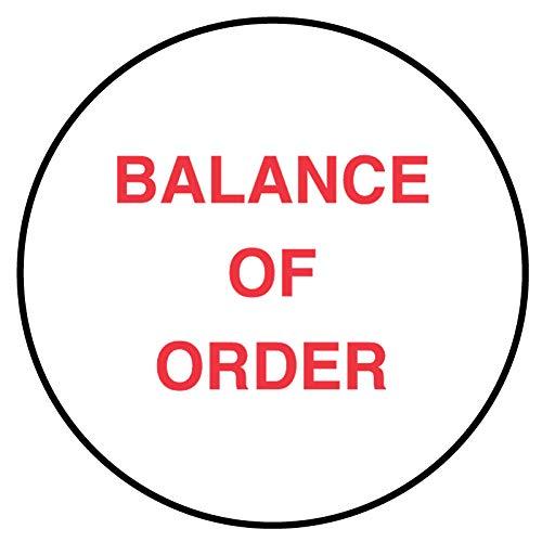 Balance of Order, Medication Instruction Label, 3/4