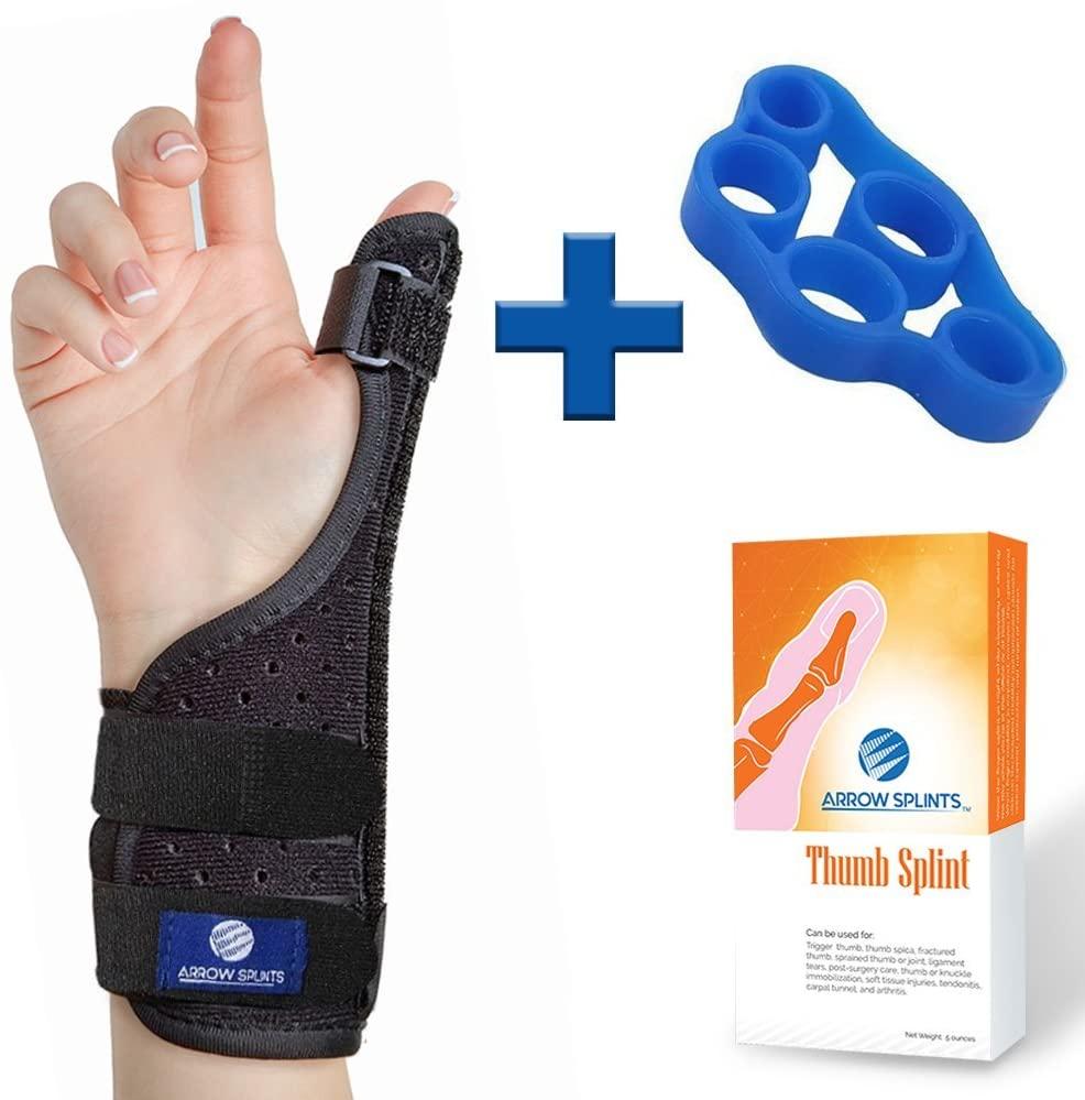 Arrow Splints Thumb Brace | for Arthritis, Trigger Thumb, Carpal Tunnel, Thumb Stabilizer, Tendonitis, Sprain - Thumb Spica Splint is Reversible to fit Right & Left Hand Thumb Splint + Thumb Exerciser