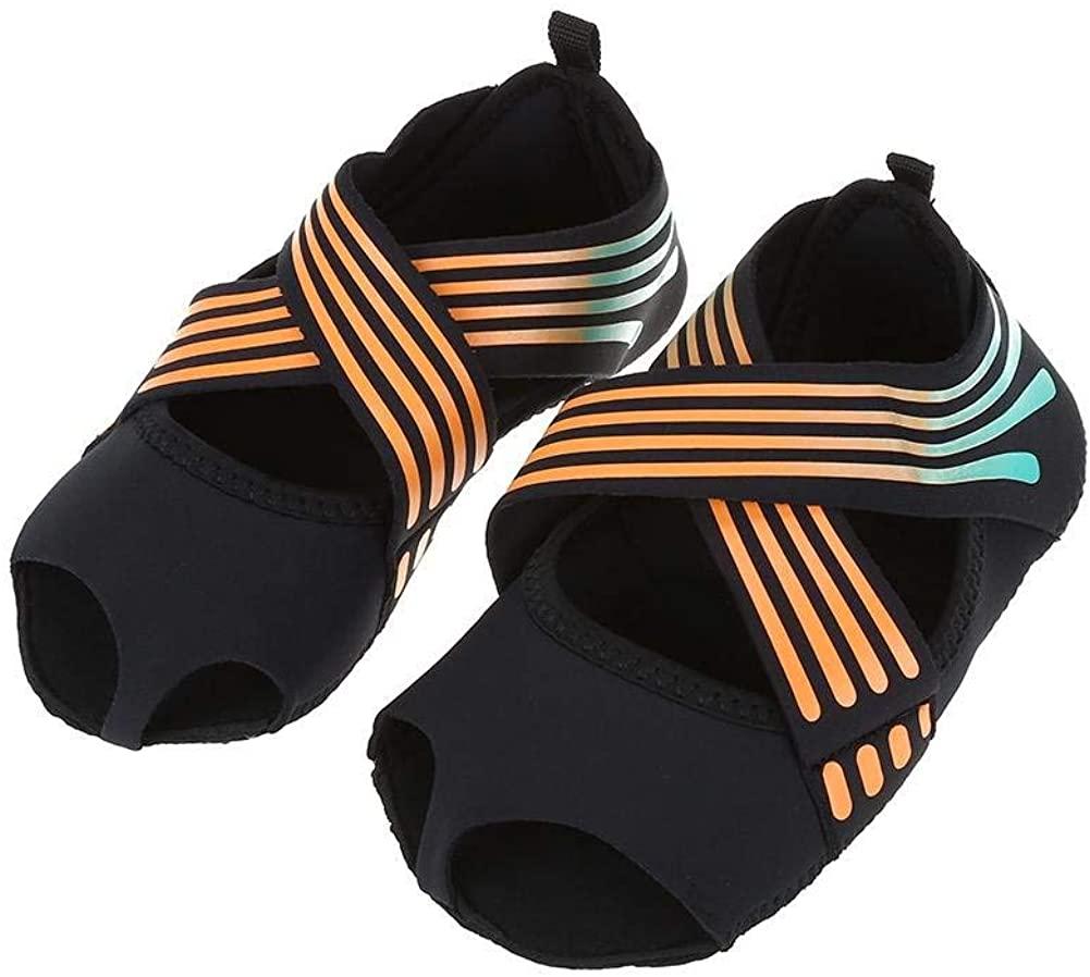 Wbestexercises Non-Slip Pilates Barre Yoga Shoes, Soft Wrap Dance Training Shoes for Girls Women Orange