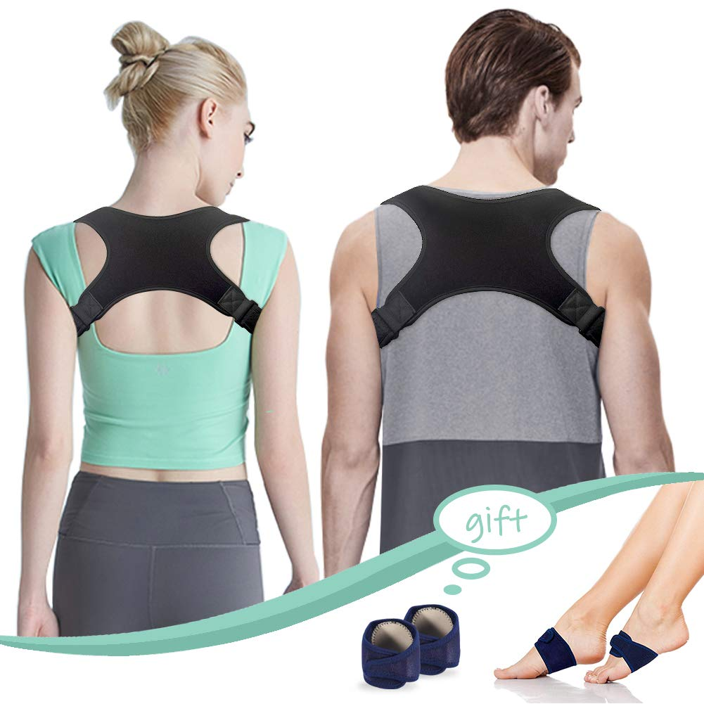 Adjustable Posture Corrector Spinal Support for Men & Women, Under Clothes Physical Therapy Posture Brace with 1 Pair Arch Support Brace, Relief Pain for Back, Shoulder, and Neck, Improve Posture