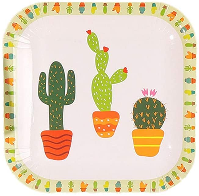 Fiesta Disposable Cactus Party Supplies, 20 Count Square 9 inch Disposable Plates Cactus Party Paper Plates for Baby Shower Cactus Theme Child Birthday Mexican Party Decoration Supplies