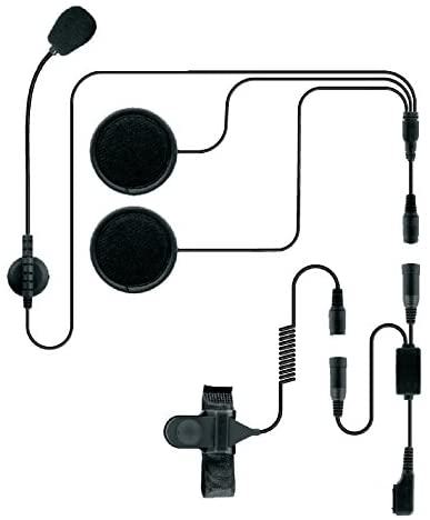 Code 3 Supply Helmet Motorcycle Headset with Speakers Microphone Push to Talk for Midland/Icom Radio