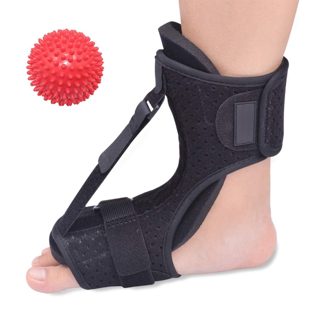 Plantar Fasciitis Night Splint Drop Foot Orthotic Brace Adjustable Dorsal Night Splints for Flat Feet, Heel, Ankle, Arch Foot Pain, Achilles Tendonitis Brace for Women, Men with Foot Massage Balls