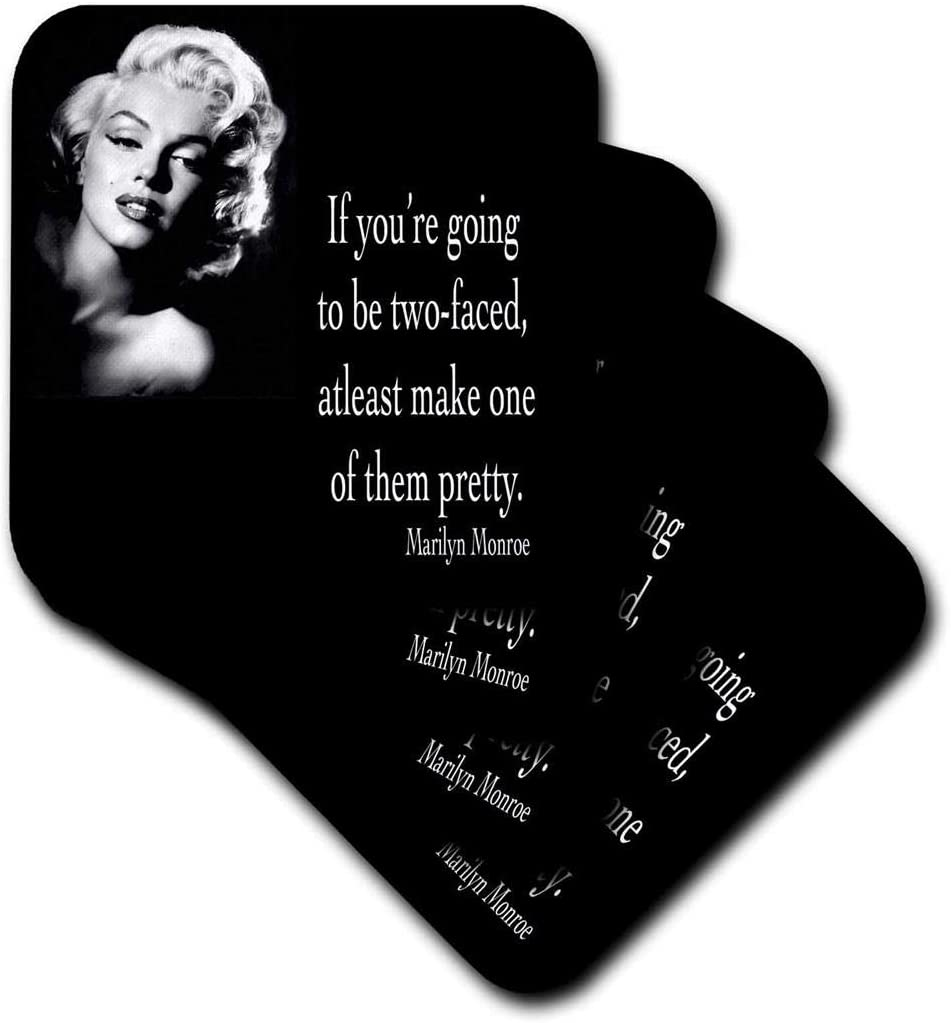 3dRose CST_130254_2 If Youre Going to Be Two-Faced, at Least Make One of Them Pretty, Marilyn Monroe Quote Soft Coasters, (Set of 8)