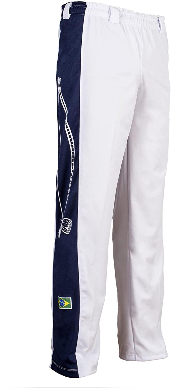 JL Sport Authentic Brazilian Capoeira Martial Arts Pants - Unisex/Children's (White with Berimbau Print Along Leg)