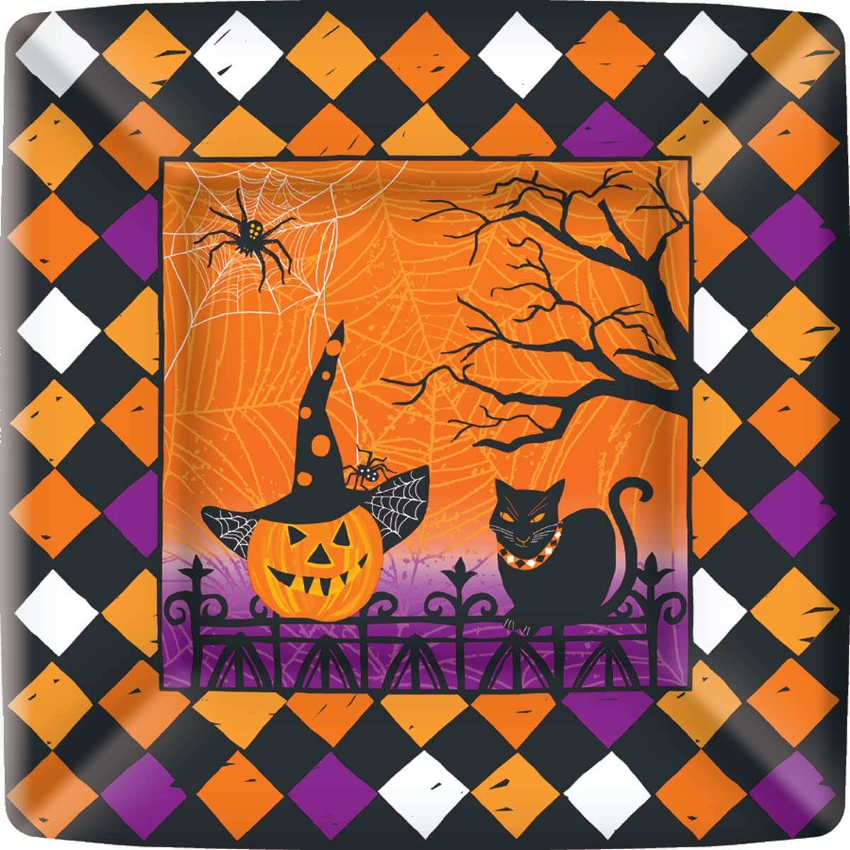 Penelope's Parties 8 Count Square Party Plates, 10-Inch, Haunted Halloween