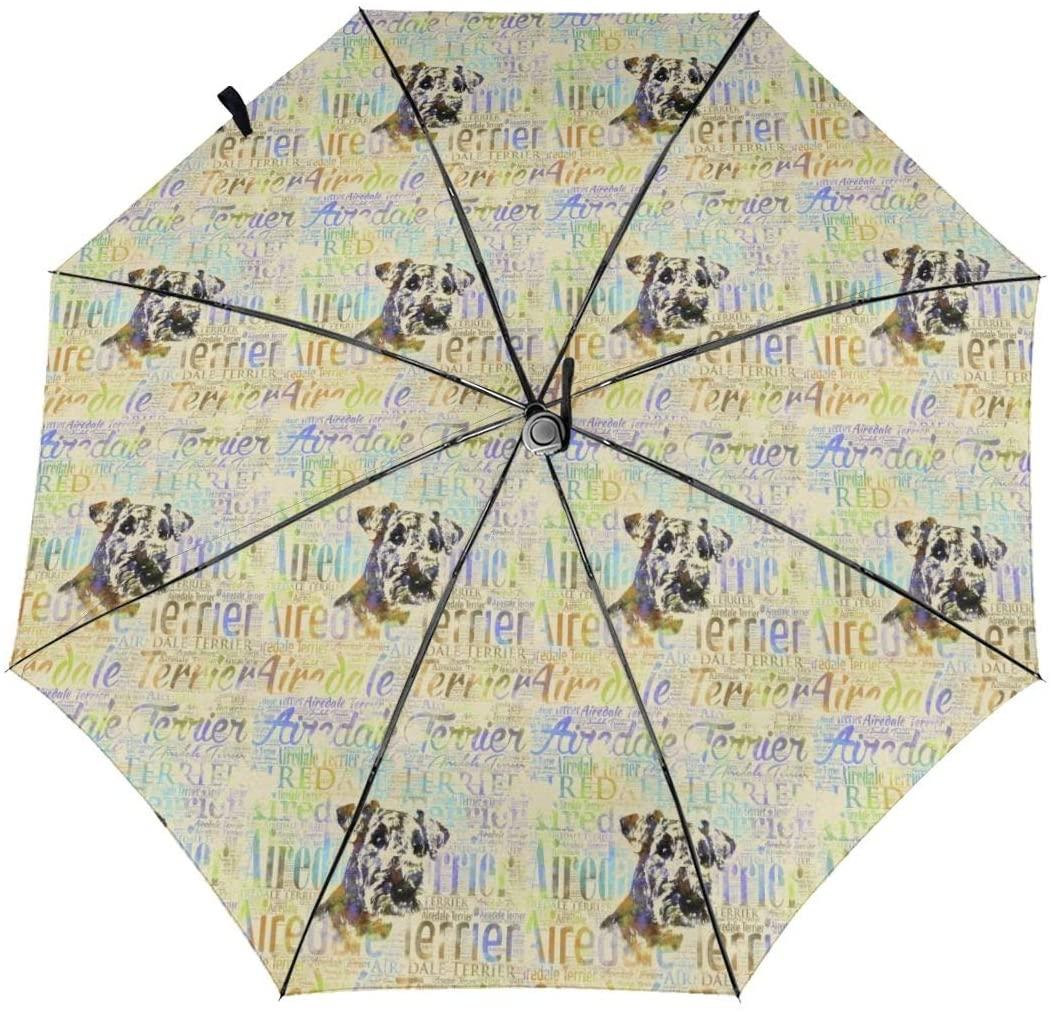 CHAN03 Airedale Terrier Watercolor Word Automatic Tri-fold Sunscreen Umbrellas Folding Umbrella