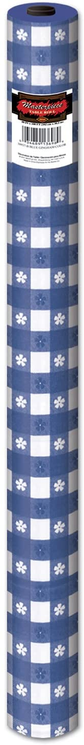 Gingham Table Roll (blue) Party Accessory  (1 count) (1/Pkg)